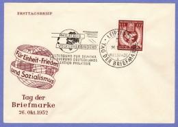 DDR SC #112 (Mi 319) 1952 Stamp Day FDC 10-26-1952 - [6] Democratic Republic