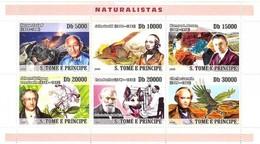 SAO TOME E PRINCIPE 2008 SHEET NATURALISTAS NATURALISTS TAZIEFF DARWIN MINERALS VOLCANOES DOGS BIRDS St8302a - Sao Tome En Principe