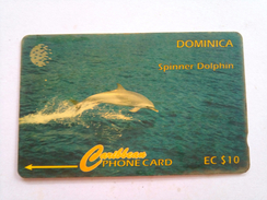 Dominica Phonecard 9CDMD EC$10 Spinner Dolphin
