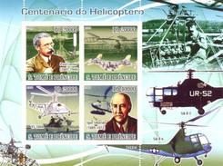 SAO TOME E PRINCIPE 2008 SHEET CENTENARY OF HELICOPTER PAUL CORNU IGOR SIKORSKY HELICOPTEROS St8609a - Sao Tome En Principe