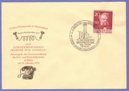 BER SC #9N90 (Mi 97) 1952 Von Siemans FDC 10-12-1952 - FDC: Covers