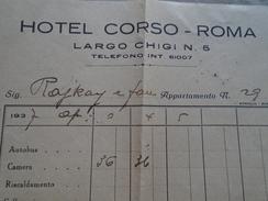 D149281 Italia  Hotel Corso -ROMA -Largo Chigi N.5   Fattura 1937   83 LIT - Italia