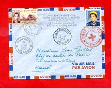 Air Mail Avion Cachet Saigon , Buu Hoa , Croix Rouge 2 Timbres Viet Nam 40e Anniversaire Bao Dai     Dossier Factures 5 - Postmark Collection (Covers)