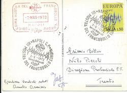 MF785 -MARCOFILIA -NAPOLI - XII MOSTRA DEL FRANCOBOLLO EUROPA - 2.5.1972 - SU CARTOLINA - 6. 1946-.. Repubblica