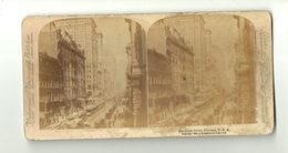 PHOTO STEREOSCOPIQUES  VERS 1900 TRAM TRAMWAY RUE RANDOLPH CHICAGO U.S.A ETATS-UNIS - Visionneuses Stéréoscopiques