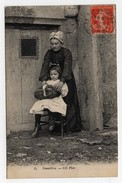 Carte Postale Dentellière Femme Mère Enfant Fille Fillette Cachet Le Puy En Velay CPA 1910 - Le Puy En Velay