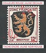 VARIÉTÉS  ZONE FRANÇAISE 1945  BRIEFPOST 12 P F NEUF * GOMME DOS CHARNIÈRE - Zone Française