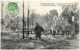 BRUXELLES - Exposition - L'incendie Des 14-15 Aout 1910 - Vue Vers Le Grand Portique   (Recto/Verso) - Wereldtentoonstellingen