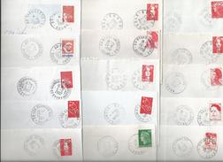 Lot De 36 Enveloppes Avec Cachet Manuel De Bureaux De Poste Du Doubs, La Plupart N'existant Plus. - Postmark Collection (Covers)