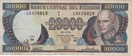 BILLETE DE ECUADOR DE 20000 SUCRES DEL 5 DE OCTUBRE DEL AÑO 1998 (BANKNOTE) - Ecuador