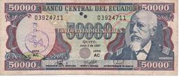 BILLETE DE ECUADOR DE 50000 SUCRES DEL 2 DE JUNIO DEL AÑO 1997 (BANKNOTE) Nº GRANDES - Ecuador
