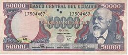 BILLETE DE ECUADOR DE 50000 SUCRES DEL 2 DE JUNIO DEL AÑO 1997 (BANKNOTE) Nº PEQUEÑOS - Ecuador