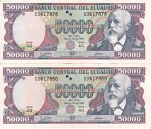 PAREJA IMPAR DE ECUADOR DE 50000 SUCRES DEL 10 DE MARZO DEL AÑO 1999 (BANKNOTE) - Ecuador