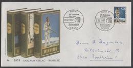 INDIENS D AMERIQUE - KARL MAY / 1987 ALLEMAGNE ENVELOPPE FDC ILLUSTREE - PREMIER JOUR (ref 7203a) - American Indians