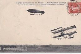 91 JUVISY  PORT AVIATION  Grande Quinzaine De PARIS  DIRIGEABLE  AVION  VOL Aviateur SOMMER Timbre1909 - Juvisy-sur-Orge