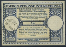 SOUTH AFRICA, 1946 London Type XIIp 5d. International Reply Coupon Reponse IAS IRC Antwortschein 46mm - Briefe U. Dokumente