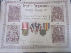 Diplome Avec 2 Medailles - 1914-18