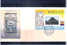 Archéologie - Monument Maya Sur FDC Bloc De Belize (à Voir) - Archéologie