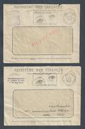 2 LETTRES MINISTERE DES FINANCES DE CHELLES FLAMME PRÉSERVEZ VOS YEUX DE 1965 : - Postmark Collection (Covers)