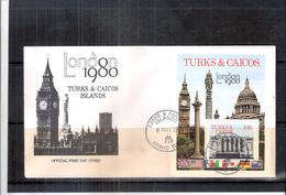 FDC Turks & Caicos Islands - Bloc London 1980 (à Voir) - Turks- En Caicoseilanden