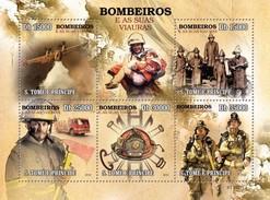 SAO TOME E PRINCIPE 2010 SHEET FIRE ENGINES POMPIERS FIREFIGHTERS BOMBEROS BOMBEIROS POMPIERI St10215a - Sao Tome Et Principe