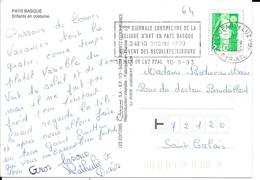 PYRENEES ATLANTIQUES   - ST JEAN DE LUZ  -  FLAMME : VOIR DESCRIPTION   1993 SUR CP FOLKLORE ENFANTS TBE THEME LIVRE - Postmark Collection (Covers)