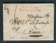 France - Lettre Avec Texte De Cayes ( Haïti ) Pour Rouen Via Le Havre En 1823 , Entaille De Purification -  Ref A58 - 1801-1848: Precursors XIX