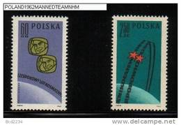 POLAND 1962 1ST TEAM MANNED SPACE FLIGHT SET OF 2 + MS NHM Wostok