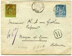 FRANCE ENTIER POSTAL RECOMMANDE AVEC AFFR. COMPL. AU RECTO ET AU VERSO DEPART ROUEN 15 FEVR 93 POUR LES PAYS-BAS - Postal Stamped Stationery