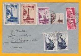 1946 Enveloppe De Paris Tri N° 1  Vers Schlieren, Suisse - Affrt 52 F - Marianne De Gandon - 4 Vignettes  Tour Eiffel - France