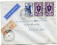 CAMEROUN FRANCE LIBRE LETTRE RECOMMANDEE PAR AVION DEPART DOUALA-DEIDO 25 JAN 47 CAMEROUN POUR LA FRANCE - Cameroun (1915-1959)