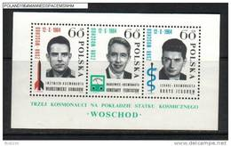 POLAND 1964 3RD CREW MANNED SPACE FLIGHT MIN SHEET NHM Engineer Komarow Scientist Feoktistow Doctor Jegrow Russia USSR
