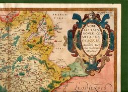 ST-BE ORTELIUS 1579 Nobilis Hannoniae Comitatus BELGE HAINAUT 52x40 - Estampes & Gravures