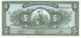 PERU 5 SOLES DE ORO 1966 P-83a UNC  [ PE083a4 ] - Peru