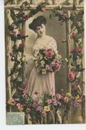 FEMMES - FRAU - LADY - Jolie Carte Fantaisie Portrait Femme Et Fleurs - Femmes