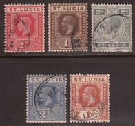 St Lucia 1921-30 Cancelled, Sc# / SG 92-93,95-96,103 - St.Lucia (...-1978)