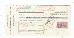 Lettre De Change ,charbons Vve Alfred MONTENAY Et Ses Fils, Chatellerault , 1943 , Timbrée,  Frais Fr : 1.55 € - Bills Of Exchange