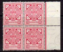 Ireland 1940-68 11d Definitive, Marginal Block Of 4, E Wmk., MNH, SG 121b - 1922-37 Irish Free State