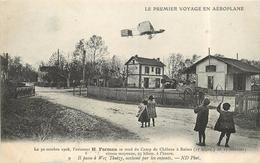 LE PREMIER VOYAGE EN AÉROPLANE - Le 30 Octobre 1908,l'aviateur H Farman Se Rend à Reims,passage à Wez Thuizy. - Bahnhöfe Ohne Züge