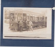 LYON   ( 69 )  CARTE PHOTO Du Tramway Et Son équipage  - PERRACHE  -  BROTTEAUX     1912 - Lyon