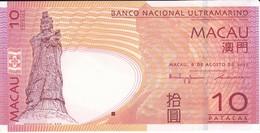 BILLETE DE MACAO DE 10 PATACAS DEL AÑO 2005  (BANKNOTE) SIN CIRCULAR-UNCIRCULATED - Macao