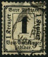 BAYERN P 2X o, 1870, 1 Kr. schwarz, Wz. enge Rauten, kleine Mängel, feinst, gepr. Brettl, Mi. 1000.-