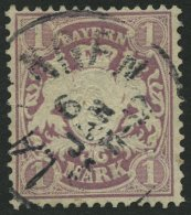 BAYERN 43 o, 1879, 1 M. braunpurpur, Wz. 2, Pracht, Mi. 110.-
