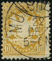 BAYERN 35 o, 1875, 10 Kr. dunkelchromgelb, Wz. 2, helle Ecke sonst Pracht, gepr. W. Engel, Mi. 320.-