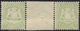 BAYERN 32cZW *, 1875, 1 Kr. mattgrün im waagerechten Zwischenstegpaar, Falzreste, feinst (angetrennt), gepr. Pfenni