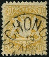 BAYERN 29YbII o, 1973, 10 Kr. dunkelgelb mit Plattenfehler linke untere Bildecke beschädigt, Eckzahnfehler sonst Pr
