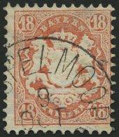 BAYERN 27Xb o, 1870, 18 Kr. dunkelziegelrot, Wz. enge Rauten, feinst, gepr. Stegmüller, Mi. 240.-