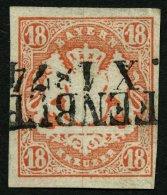 BAYERN 19 o, 1867, 18 Kr. dunkelzinnoberrot, L2, gepr. Engel, Mi. (220.-)