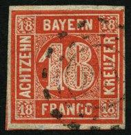 BAYERN 13a o, 1862, 18 Kr. zinnoberrot, Pracht, gepr. Pfenninger, Mi. 200.-