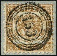 BADEN 20b BrfStk, 1864, 9 Kr. gelbbraun, zentrischer Nummernstempel 153, Prachtbriefstück, gepr. Seeger, Mi. (120.-